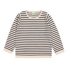 FUB Wool Striped Blouse - Ecru/Navy