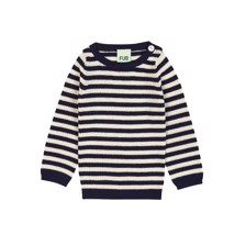 FUB Baby Wool Striped Rib Blouse - Navy/Ecru