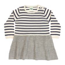 FUB Baby Dress - Ecru Navy/ Light Grey